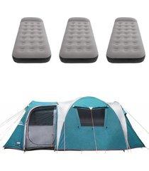 barraca camping nautika arizona gt 9/10 pessoas + 3 colchões solteiro inflável star aveludado