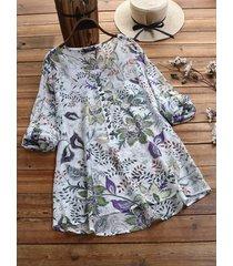 camicetta o-collo con bottoni stampati floreali vintage con tasca