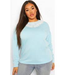 plus oversized sweater met met franjes kraag, pastel blue