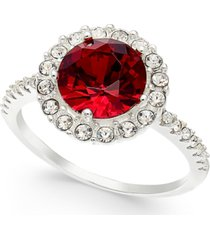charter club silver-tone crystal slim halo ring, created for macy's