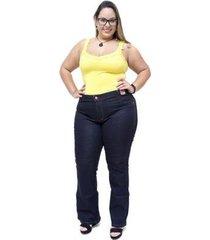 calça jeans feminina credencial plus size flare juscineide