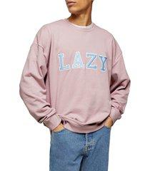 men's topman lazy applique crewneck sweatshirt