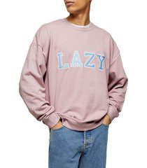 men's topman lazy applique crewneck sweatshirt