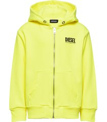 sgirkhoodzip-logo over sweat-shirt hoodie trui geel diesel