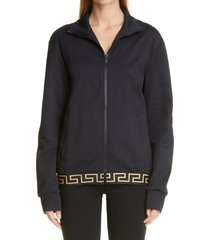 women's versace greca border jersey track jacket, size 4 - black