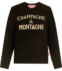 champagne & montagne black womans sweater