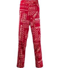 palm angels bandana print track pants - red