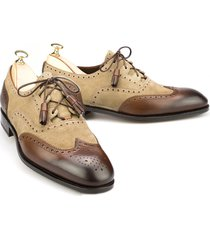 handmade men beige brown brogue shoes, oxford formal dress suede & leather shoe