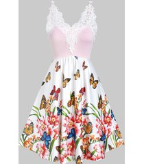 butterfly print lace insert cami a line dress