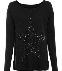 maglione oversize con applicazione (nero) - bodyflirt