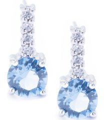swarovski crystal 6mm with cubic zirconia bar drop earring in sterling silver. available in clear, blue, light blue and red