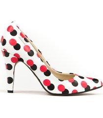 skórzane szpilki zapato 035 czerwone kropki