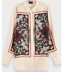 scotch & soda zijdezachte oversized blouse met lange mouwen