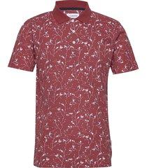 floral print polo shirt s/s polos short-sleeved röd lindbergh