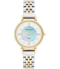 anne klein women's considered solar-powered two-tone bracelet watch 30mm