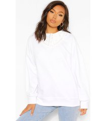 geweven oversized sweater met kraag, white