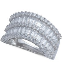 cubic zirconia baguette two row wavy statement ring in sterling silver (also available in blue and multi)