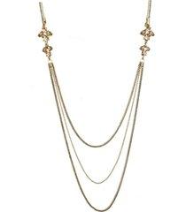 colar armazem rr bijoux fio brilhoso com correntes e cristais dourado - dourado - feminino - dafiti