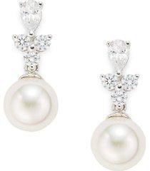 10mm white pearl & crystal drop earrings