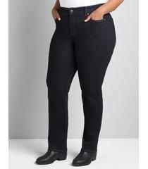 lane bryant women's curvy fit high-rise straight jean- dark wash 28 dark denim