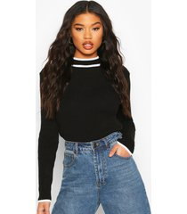 contrast cuff knitted sweater