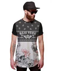 camiseta di nuevo longline skull floral new york caveira preta