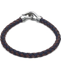 esquire men's jewelry woven black and brown leather bracelet in stainless steel, created for macy's