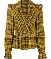 alessandra rich crystal-embellished houndstooth blouse - yellow