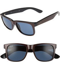 women's ray-ban justin 51mm flat top sunglasses - brown/ dark blue solid