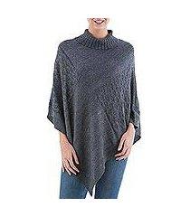 knit poncho, 'grey reality squared' (peru)