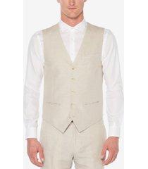 perry ellis men's linen herringbone vest