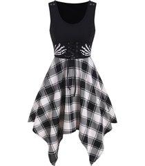 skeleton hand plaid handkerchief corset dress