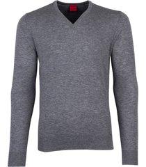 olymp trui v-hals grijs melange wol zijde