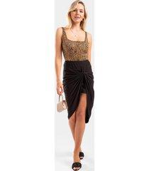 sloan ribbed front knot midi skirt - black