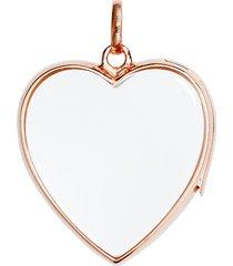 14k rose gold rock crystal heart locket - large 22mm
