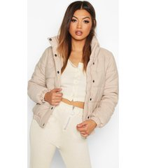 funnel neck puffer jacket, stone