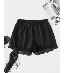 shorts casuales con cordón y dobladillo de encaje yoins basics