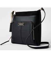river island womens black zip pocket messenger bag