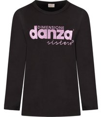 dimensione danza black t-shirt for girl with purple lurex logo
