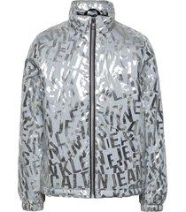 logo metallic jacket bomberjack zilver calvin klein