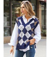 chaleco suéter sin mangas de punto con cuello en v a cuadros