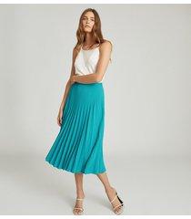 reiss isadora - knife pleat skirt in green, womens, size 12