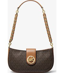mk borsa a spalla carmen extra-small con logo - marrone - michael kors