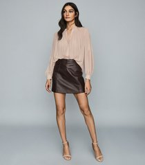 reiss arden - leather mini skirt in chocolate, womens, size 10