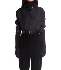 women's the row big sisea long sleeve button-up poplin shirt, size large - black