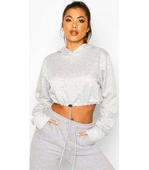 drawcord cropped hoodie, grey marl