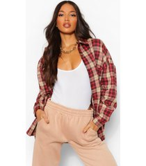 tall extreme oversized flannel shirt, berry
