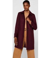 abrigo con lana burdeo esprit