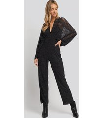 na-kd party dolman glittery jumpsuit - black