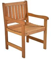 cadeira com braços em madeira para jardim 45x58cm natural